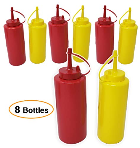 Ketchup & Mustard Dispensers No Drip, Set, 4 -pack (8 bottles) – 12 oz Durable With Lid/Cap Premium Plastic Squeeze Squirt Condiment Bottles