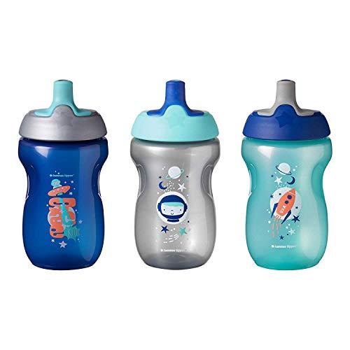 Tommee Tippee Active Sportflasche, auslaufsicher, 12+ Monate, 3er Set, Blau und grau