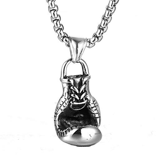 Blisfille Silber Kette Männer Herren Ketten Mit Namen Herrenkette Gothic Silber Schwarz Boxhandschuhe Anhänger Retro Vintag Kette