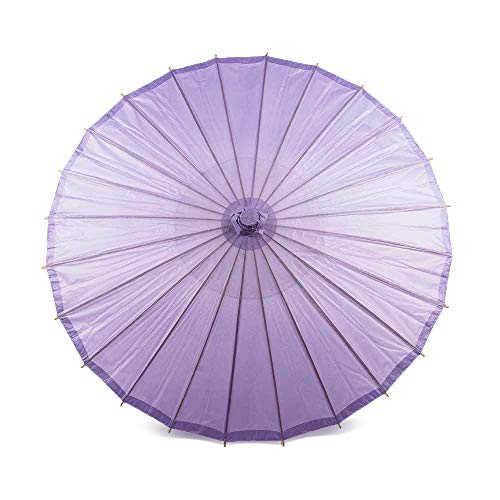 Luna Bazaar 20-Inch Lavender Paper Parasol Umbrella - Chinese/Japanese Paper Umbrella - for Children, Decorative Use, and DIY Projects