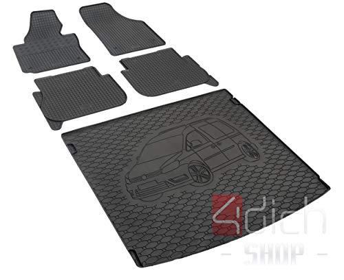 Passgenaue Kofferraumwanne und Gummifußmatten geeignet für VW Caddy 5-Sitzer ab 2005 + Autoschoner MONTEUR