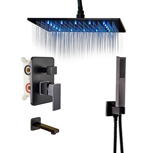 Rozin Bathroom 3-way Mixer Kit Ceiling Mounted 16-inch Rainfall Showerhead + Tub Tap + Handheld Spray Oil Rubbed Bronze