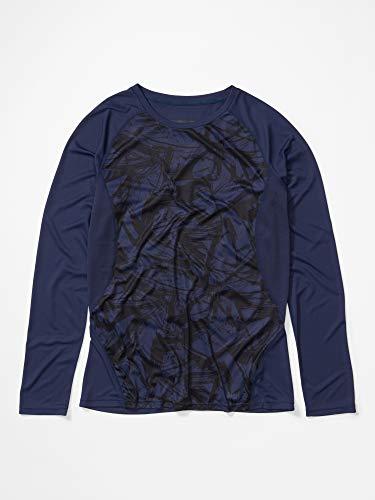 Marmot Wm's Crystal Ls T-Shirt Manche Longue, Chemise de randonnée, Idéal pour Le Sport, la Gym, séchage Rapide, Respirant Femme Arctic Navy Race Line FR: XS (Taille Fabricant: XS)