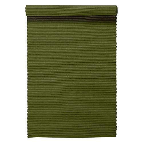 LINUM UNI Chemin de Table décoratif 45 x 150 cm en Coton côtelé, Lavable en Machine, Vert Olive