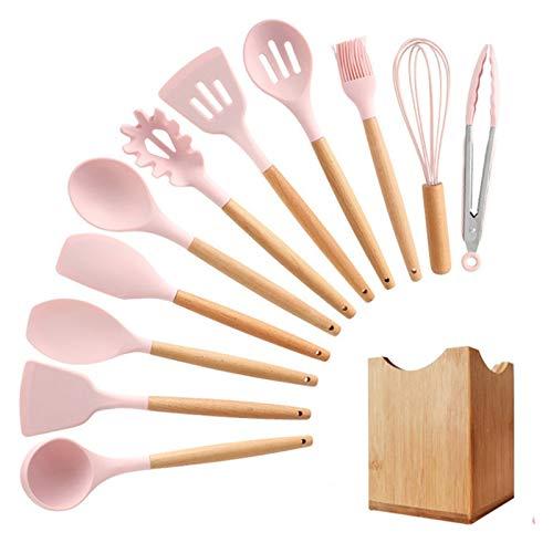 WUHUAROU Juego de 12 Uds de Cocina de Silicona, Juego de Utensilios de Cocina, espátula Antiadherente, Mango de Madera Resistente al Calor, Utensilios de Cocina para cocinar (Color : Pink, Size : A)