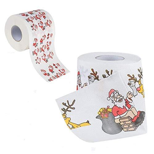 2 Rollen Weihnachtsmann WC-Rolle Papier/Merry Santa Claus Pattern Christmas Toilet Roll Paper Dekoration