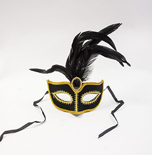 Vénitien Masque de bal A – Or Broderie Gem – 4 couleurs + Styles – Les Événements Accessoires, noir, 23cm x 19cm (to the Widest and Highest points)