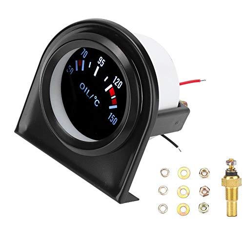 Indicador de temperatura del aceite del automóvil, indicador LED de temperatura del aceite del puntero del automóvil con luz LED de 52 mm y 2 pulgadas 50-150 ℃