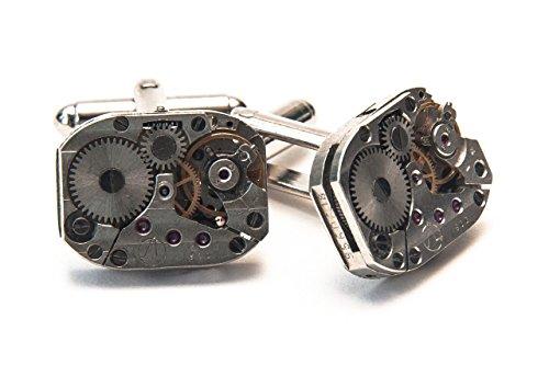 Jeff Jeffers Handmade Boutons de manchette en forme de mouvement de montre 19 mm Rectangle style vintage Steampunk