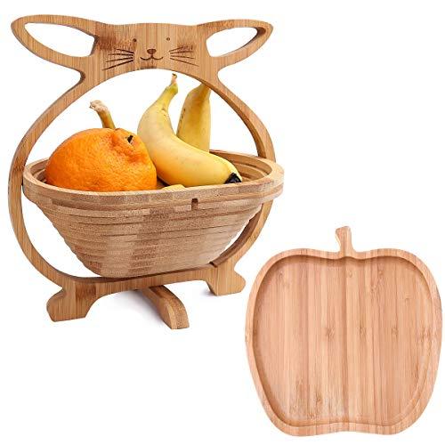 Flanacom Frutero de madera de bambú en juego de 2 unidades con frutero – Cesta plegable con soporte para frutas y verduras – Cuenco decorativo plegable – Idea de regalo inauguración