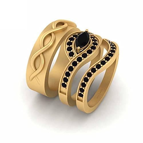 Anillo de boda de oro amarillo Fn 925 de plata esterlina para él y ella a juego con diamantes negros ondulados a juego para parejas