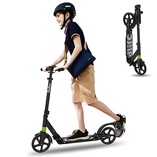 Scooter for Adults, Scooters for Teens 12 Years and Up with Double Suspension, Adjustable Handlebars, 2 Big Wheels, with Quick Release Folding System, Great Gift Selection