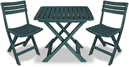 Set sedie e Tavolo da Giardino Pieghevole in plastica - Camping Set (Verde)