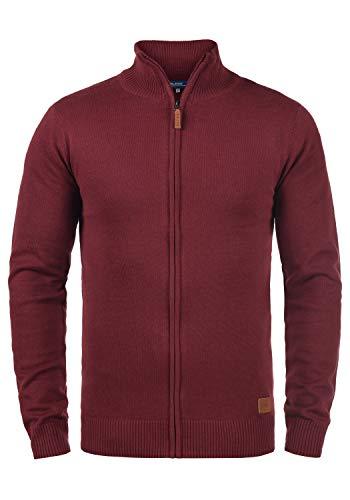 Blend Norman Herren Strickjacke Cardigan Feinstrick mit Stehkragen und Reißverschluss, Größe:XXL, Farbe:Andorra Red (73811)
