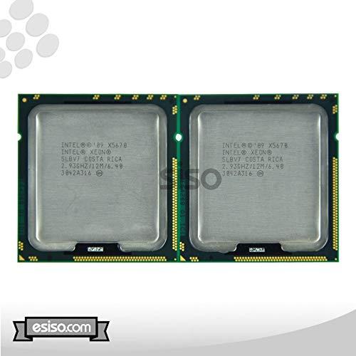 Par de procesadores Intel Xeon X5670 de seis núcleos 2,93 GH/z de 12 MB Smart Cache 6,4 GT/s QPI TDP 95 W SLBV7 BX80614X5670 (renovado)