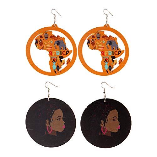 chiwanji 2 Pares de Pendientes Colgantes de Gancho de Mujer de Moda con Grabado de Madera de Niña Negra Africana