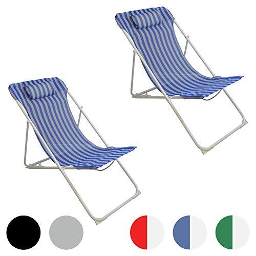 Harbour Housewares Sedie a Sdraio Pieghevoli in Metallo - reclinabili su 3 Posizioni - Blu a Strisce - 2 Pezzi
