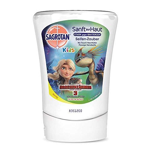 Sagrotan No-Touch Kids Nachfüller Seifenzauber Honig, Drachenzähmen leicht gemacht Edition – Für den automatischen Seifenspender – 1 x 250 ml Handseife für Kinder