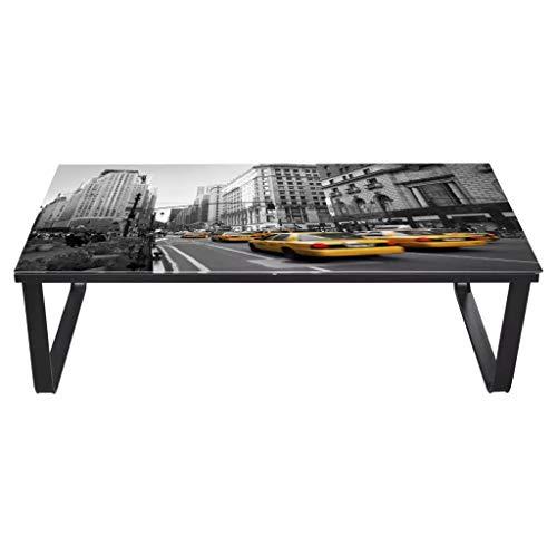 Ausla Tavolino da caffè rettangolare, 90 x 45 x 32 cm, con superficie in vetro temperato, stile moderno, per soggiorno, camera da letto