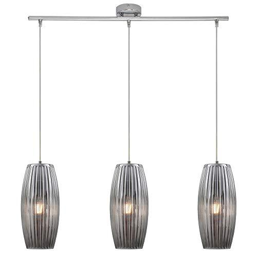 Retro Decken Pendel Strahler Glas Leuchte Wohn Ess Zimmer Hänge Lampe chrom Briloner 4314-038