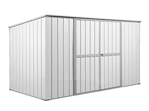 Notek Box in Acciaio Zincato Casetta da Giardino in Lamiera 1.75 x 3.07 m x h1.82 m - 95 kg – 5,4 Metri Quadri (Bianco)