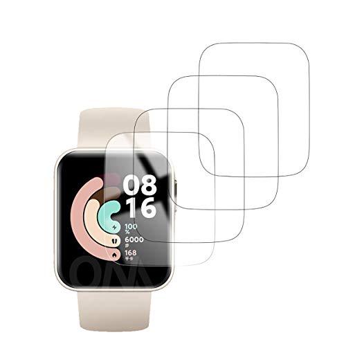 [4 Pezzi] Pellicola Pprotettiva Compatibile con Xiaomi Mi Watch Lite, [Pellicola Flessibile] Soft HD TPU Trasparente [Anti-bolla] Protezione Completa in Vetro Morbido per Xiaomi Mi Watch Lite