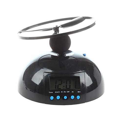 ghn Digitaler Wecker mit fliegendem Hubschrauber-Wecker, Tischuhr, Schreibtischuhr, Schwarz