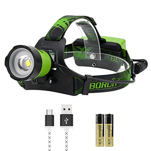 BORUiT Upgrated B13 - Linterna frontal con micro USB superbrillante, zoom XP-L2 LED con 2 pilas 18650 + cable USB para caza, camping y caminar (verde)