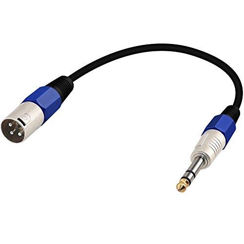 Yeung Qee 6,35 mm (1/4 Pulgadas) TRS a XLR 3 Pines Macho Cable de micrófono de Interconexión Desequilibrado para Altavoces potentes, Escenario, DJ, Consolas de Sonido de Estudio 30 cm