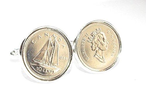 1994 21e anniversaire Canada dime Boutons de manchette Canada dime de 1994 pour 21e anniversaire