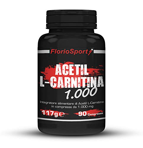 FlorioSport, Acetil L-Carnitina 1000, 90 cpr. Supporto per Definizione e Dimagrimento. Conversione del Grasso in Energia.
