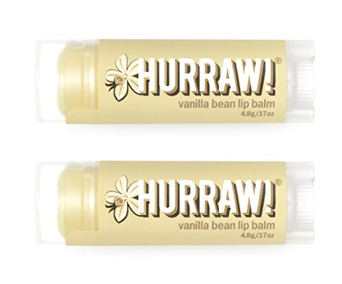 Hurraw! Vanilla Bean Lip Balm, 2 Pack: Organic, Certified Vegan, Cruelty and Gluten Free. Non-GMO, 100% Natural Ingredients. Bee, Shea, Soy and Palm Free. Made in USA