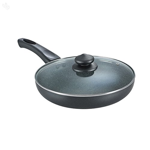 Omega Deluxe Granite 100% PFOA Free Safest Non Stick Frying Pan / Skillet With New 5-layered German technology Metal Spoon Friendly, Dishwasher Safe For Gas and Induction Cooktops, 10.5 Inches (10.5')