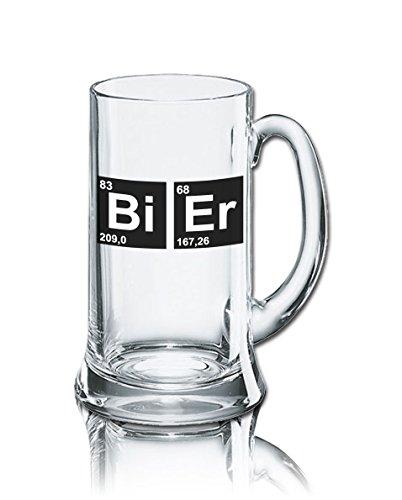 PorcelainSite Geschenkideen GmbH Lustiges Bierglas Bierkrug Icon 0,5L - Dekor: Bi - Er
