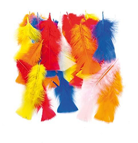 Baker Ross lang, bonte veren voor kinderen voor het knutselen van collages, modellen, hoeden en kostuums (per verpakking) - voor het verkleden en carnaval