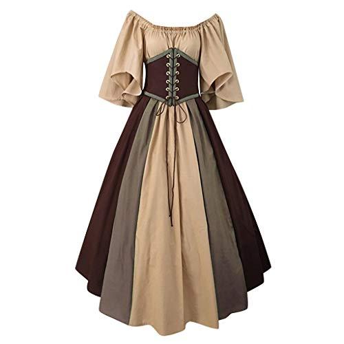 FRAUIT Damen Langarm Maxikleider Mittelalter Kleidung Abendkleider Gothic Retro Kleid Renaissance Cosplay Kostüm Prinzessin Kleid Lange Abendkleid Übergröße Kleid Weihnachts Karneval Party