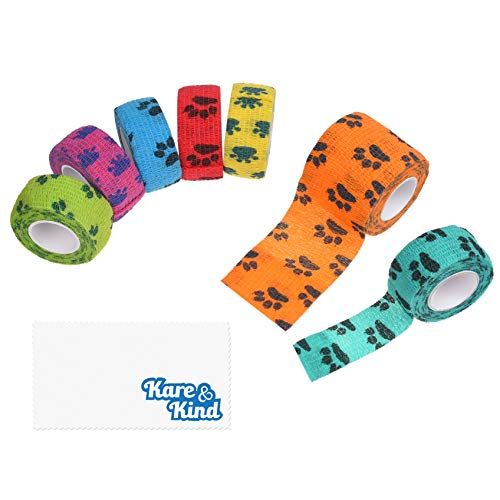 Kare & Kind Self-Adhesive Bandage - Injury Wrap Tape for Pets - Dog, Cats, Horses - 7 Multi-Color Rolls - Muscle and Joint Support - Elastic, Does not Stick to Animal Fur or Coat