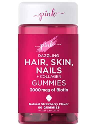 Pink Hair Skin Nails Gummies   60 Count   Plus Collagen   Non-GMO & Gluten Free Vitamins for Women   Strawberry Flavor
