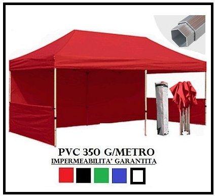 Tonnelle Pliante Rouge Aluminium hexagonale 40 mm 3 x 6 + 4 bâches latérales PVC 350 g mètre