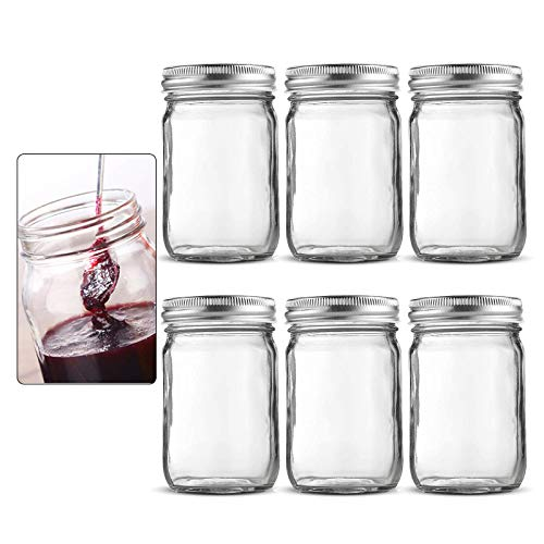 FOANRIY Mason Jars 16 oz(6 Pack)Glass Jars With Lids,Canning Jars,Glass Jars for Food Storage With Lids, and 100% food safety.For storing food,Overnight Oats,Canning,Jam,Honey,Jelly