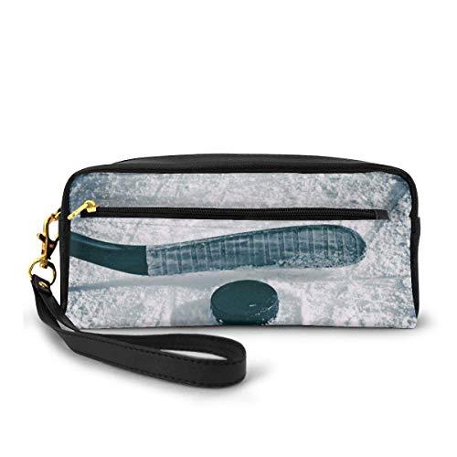 Pencil Bag,Eishockey Sportliebhaber Pu Leder Bleistift Tasche, Leichte Make-Up Taschen Für Party Geschäftsreisen,20x5.5x8.5cm