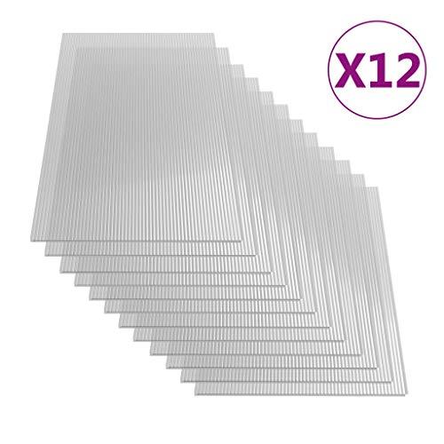 vidaXL 12x Polycarbonatplatte Doppelstegplatten Hohlkammerplatten Polycarbonat Stegplatten Hohlkammerplatte Doppelstegplatte 6mm 140x61cm