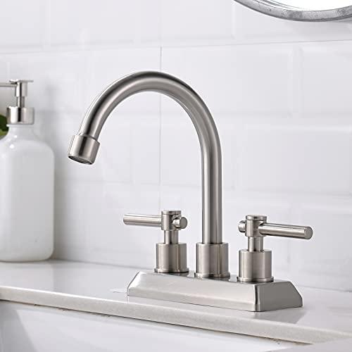 VESLA HOME Modern 2 Handles 2 Holes 4 Inch Centerset Brushed Nickel Bathroom Faucet,Lavatory...