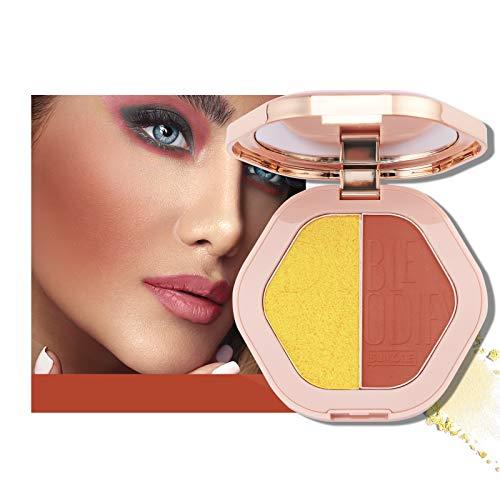 Mimore 2 colori Palette di illuminanti fard con contorno viso opaco brillante Fard naturale delle guance Palette illuminante illuminante per la carnagione Cosmetici di bellezza trucco (03)
