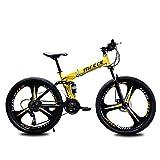 MQJ 21/24/27 Velocidad M de Acero Al Carbono de Alta Tracción Mtb 26 Pulgadas Bicicleta de Montaña Plegable para Hombres Y Mujeres Dual Disco Freno Completo Suspensión Montaña Bicicleta,a,21 Velocida