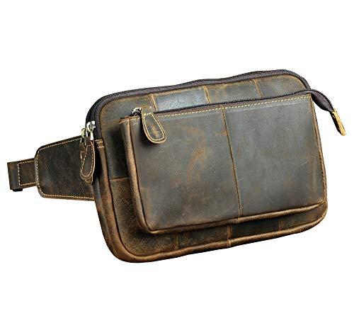 whbage Hüfttasche Leder Männer Casual Fashion Travel Taille Gürteltasche Brust Pack Sling Bag Design 8 elefon Fall Tasche Männlich