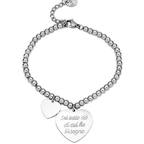 Beloved Bracciale da donna, braccialetto in acciaio emozionale - frasi, pensieri, parole con charms - ciondolo pendente - misura regolabile - incisione - argento (MOD 27)