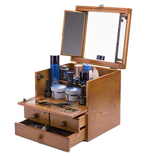 ZXL Boîte de Rangement cosmétique de Cas d'organisateur cosmétique en Bois Solide de Caisse cosmétique en Bois de poudrage, Bois Plein avec Le Cadeau de Mariage de Serrure de Miroir (Couleur: bo