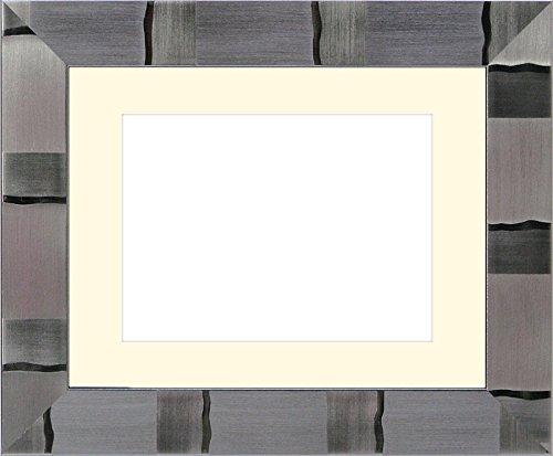写真用額縁 エスポワール/シルバー写真六つ切(254×203mm) ガラス マット付(銀色細縁付き) マット色:黒