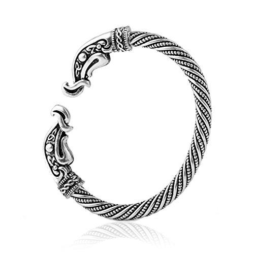 fishhook Fashion Vintage Viking Raven Crow Head Screw Cuff Bangle Wristband Bracelet Animal Jewelry for Men Women